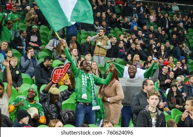 KRASNODAR, RUSSIA - November 14, 2017: Nigerian supporters support their team during a friendly match between the national teams of Argentina and Nigeria, 2017, Russia