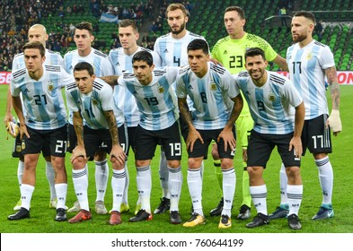 KRASNODAR, RUSSIA - November 14, 2017: Team-wide photo of the football team of Argentina before a friendly match between the national teams of Argentina and Nigeria, 2017, Russia