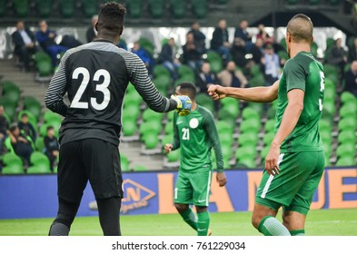 KRASNODAR, RUSSIA - November 14, 2017: Francis Uzoho (L), William Troost-Ekong gave five to each other during a friendly match, 2017, Russia