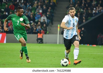KRASNODAR, RUSSIA - November 14, 2017: Ahmed Musa (L) against Emiliano Insua during a friendly match between the national teams of Argentina and Nigeria, 2017, Russia
