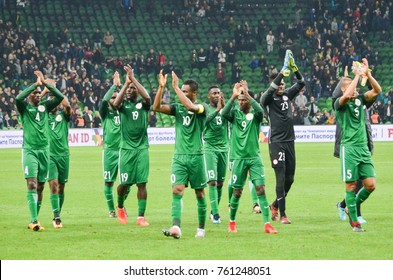 KRASNODAR, RUSSIA - November 14, 2017: Footballers of the national team of Nigeria thank the fans after the victory over Argentina, 2017, Russia