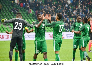 KRASNODAR, RUSSIA - November 14, 2017: Football players of the national team of Nigeria celebrate the victory during a friendly match between Argentina and Nigeria, 2017, Russia
