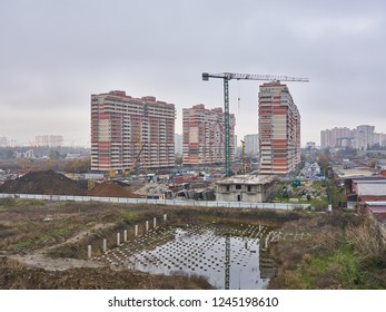Krasnodar, Russia - November 21, 2018: JK Premiera and JK Dom Romanovikh Avtolubiteley 1. A new residential building on monolithic frame technology in the area with the existing infrastructure.