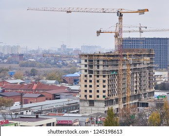 Krasnodar, Russia - November 23, 2018: JK Vremya Borodinskaya 156. A new residential building on monolithic frame technology in the area with the existing infrastructure.