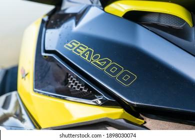 Krasnodar, Russia - October 24, 2020: Close up of jet ski with SeaDoo BRP logo at South Russian Aquabike Championship