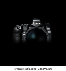 Krasnodar, Russia  - September 15, 2015: Canon 5D mark 2  interchangeable-lens professional dslr camera on black background,  low key image