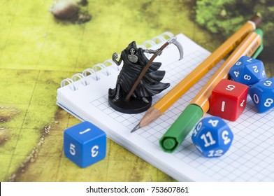 KRASNODAR/RUSSIAN FEDERATION – November 12, 2017: Playing Dungeons and Dragons, role playing game, dnd, throwing dices