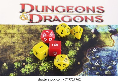 KRASNODAR/RUSSIAN FEDERATION – November 6, 2017: Playing Dungeons and Dragons, role playing game, dnd. Dices on a map