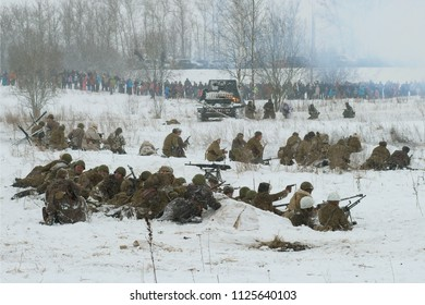 "KRASNOE SELO, RUSSIA - JANUARY 15, 2017: Soviet infantry before the attack. Reconstruction of the battles of the Great Patriotic War to lift the blockade from Leningrad, Operation ""January Thunder"""