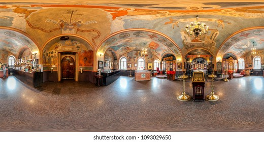 KRASNOGORSK, RUSSIA - MAY 1, 2018: 360 panorama view interior beautiful orthodox church. Full 360 by 180 degrees seamless panorama in equirectangular spherical projection. skybox for VR AR content.