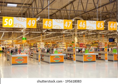 KRASNOGORSK, RUSSIA - MAY 17, 2014:  Checkout lane of Globus supermarket. The first Globus supermarket in Russia was opened in 2006.