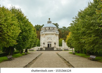 Krasnohorske Podhradie, Slovakia - August 14, 2014: Historic mausoleum in small village of Krasnohorske Podhradie in Slovakia during summer 2014