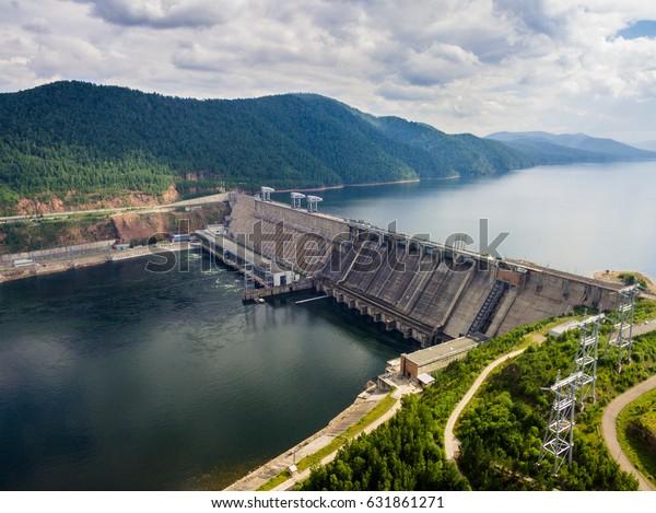 Krasnoyarsk Dam on Yenisei River from aerial view