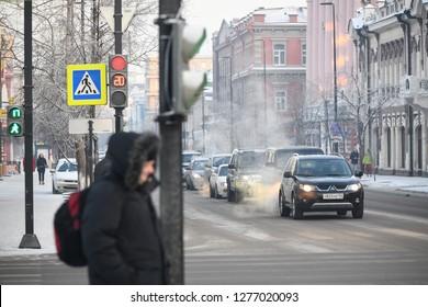 Krasnoyarsk, Krasnoyarsk region/Russia - 31.12.2018 - Mira avenue