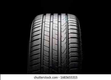 Krasnoyarsk, Russia, 20 march 2020: New protector tire Pirelli Cinturato P7, new models 2020 year. front view on a black background