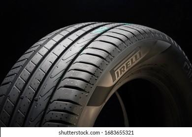 Krasnoyarsk, Russia, 20 march 2020: New protector tire Pirelli Cinturato P7, new models 2020 year. logo on the sidewall