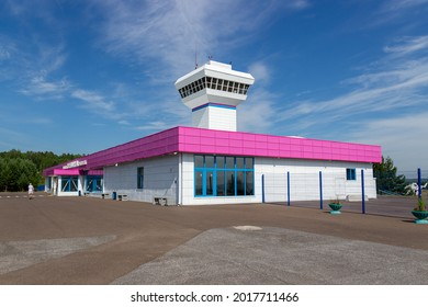 Krasnoyarsk, Russia - 30 July, 2021: reconstructed terminal of Krasnoyarsk Cheremshanka Airport. Is a domestic airport in the Krasnoyarsk Krai, Siberia.