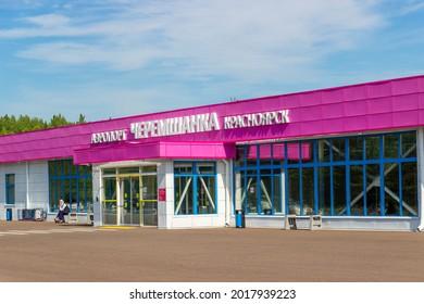 Krasnoyarsk, Russia - 30 July, 2021: Krasnoyarsk Cheremshanka Airport is a domestic airport in the Krasnoyarsk Krai, Siberia. The terminal serves regional flights only