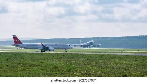 Krasnoyarsk, Russia - August 19, 2021: Krasnoyarsk airport - the largest airport in Siberia, refueling service for international airlines