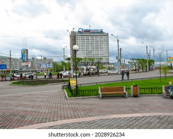 Krasnoyarsk, Russia - February 10, 2019: The city of Krasnoyarsk, View of the streets and architecture of the city.