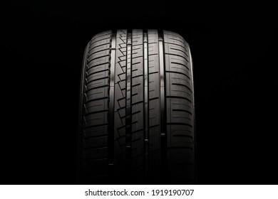 KRASNOYARSK, Russia, February 18, 2021: new Nokian Hakka Green 3 tire tread close-up on a black background