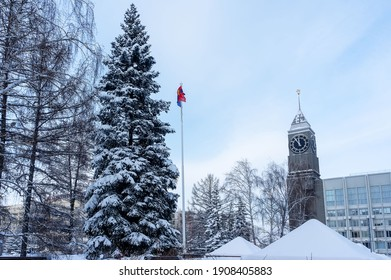Krasnoyarsk, Russia, January 2021: Krasnoyarsk, city administration building, clock tower, in winter