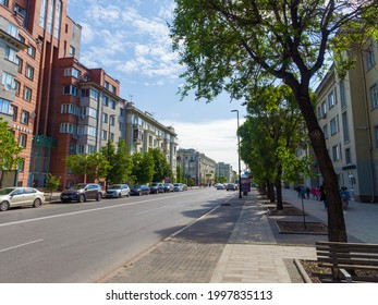 Krasnoyarsk. Russia - June 1, 2021: Peace Avenue. City view. City center