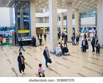 Krasnoyarsk, Russia - March 10, 2021: Krasnoyarsk airport. Main hall