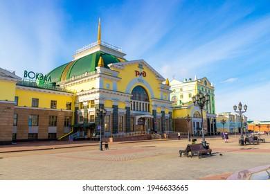 Krasnoyarsk, Russia - March 27, 2021: City square. Krasnoyarsk-Passazhirsky is the main railway station in the city of Krasnoyarsk. Located at 4098 km of the Trans-Siberian Railway.