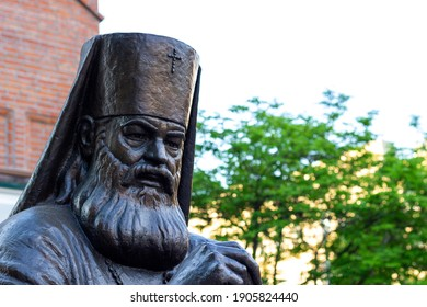 Krasnoyarsk, Russia - May 11, 2020: monument to Archbishop Luka of Simferopol and the Crimea. Saint Luke the Blessed Surgeon