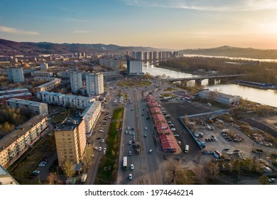Krasnoyarsk, Russia - May 17, 2021: view of the city center, the largest city in Russia, cultural, educational, economic and industrial center, aerial footage