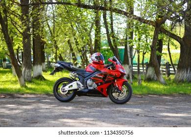 KRASNOYARSK, RUSSIA - MAY 25, 2018: Red and black sportbike Honda CBR 600 RR 2005 PC37