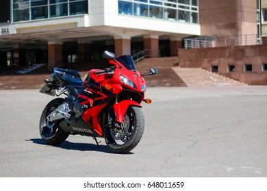 KRASNOYARSK, RUSSIA - MAY 27, 2017: Red and black sportbike Honda CBR 600 RR 2005 PC37