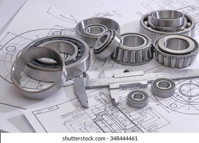 Krasnoyarsk, Russia - NOVEMBER 11, 2015: A choice of bearings by the size for assembly of a nave - according to drawings