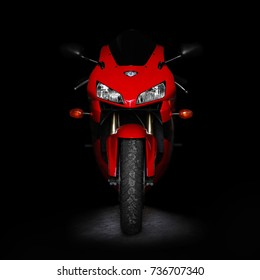 KRASNOYARSK, RUSSIA - OCTOBER 15, 2017: Red sports bike in the dark. Two lights. Front view. Isolated on a black background.
