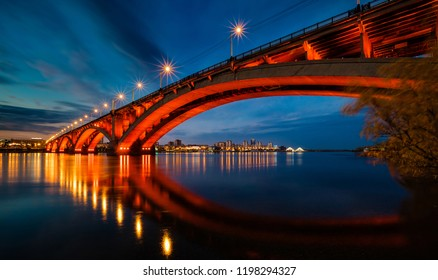 Krasnoyarsk, Russia -  October 4, 2018: evening view of the city of Krasnoyarsk, the bridge through the Yenisei River