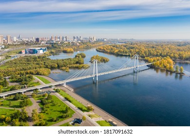 Krasnoyarsk, Russia - September 15, 2020: a large city in Siberia, a population of more than a million people, central city, Yenisei river embankment, panorama, aerial photography