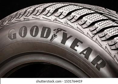Krasnoyarsk, Russia, September 2019: Goodyear logo on the sidewall of a black tire close-up. world tire company.