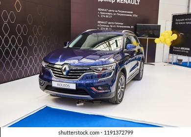 Krasnoyarsk, Russia - September 22, 2018: Exhibition MOTOR EXPO SHOW car Renault Koleos. Front view.