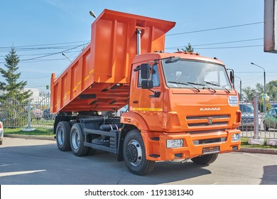 Krasnoyarsk, Russia - September 22, 2018: Exhibition MOTOR EXPO SHOW car Kamaz 65115 dump truck. Front right view.