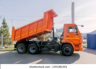 Krasnoyarsk, Russia - September 22, 2018: Exhibition MOTOR EXPO SHOW car Kamaz 65115 dump truck. Right view.