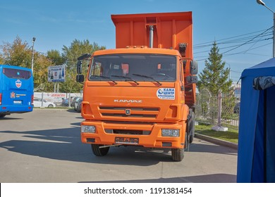 Krasnoyarsk, Russia - September 22, 2018: Exhibition MOTOR EXPO SHOW car Kamaz 65115 dump truck. Front view.