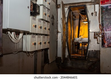 Krasnoyarsk, Russia - September 6, 2021: view through the hermetic open door to the phytotron is experimental plant growing equipment in BIOS-3 complex in Krasnoyarsk Institute of Biophysics.