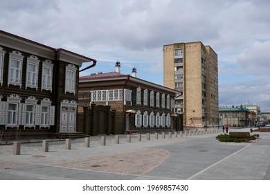 Krasnoyarsk, Russia-May 2, 2021:The buildings in historical quarter of Krasnoyarsk.