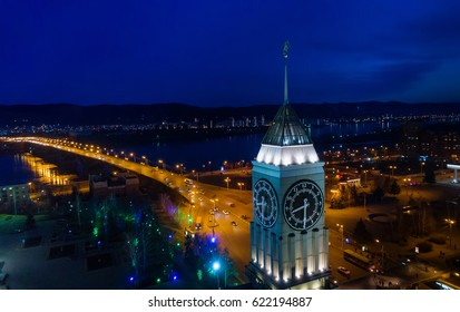 Krasnoyarsk, Russian Federation - April 11, 2017 the downtown, tower with clock,  panorama,  a picture from above