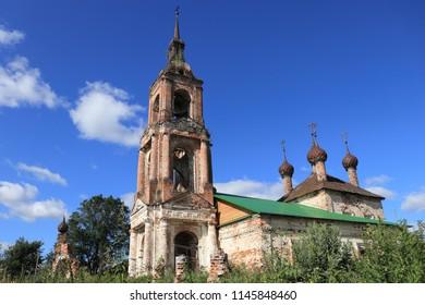 KRASNOYE SUMAROKOVO, KOSTROMA OBLAST / RUSSIA - JULY 29 2018: The ruined church of the Holy Trinity at Kostroma Oblast