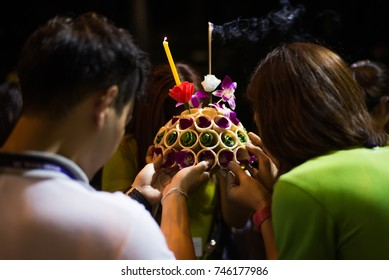 Krathong made from bread safe for world. People are praying for the faith of Thailand. Loy Krathong, Thailand Most Beautiful Holiday Festival.