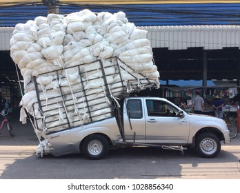 Krathumbaen, Samut Sakhon,Thailand-February 20,2018:This pickup truck stores all of the items so overweight, causing the truck to separate from the rest of the driver.The accident happened.
