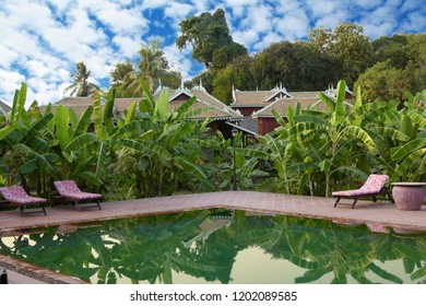 KRATIE, CAMBODIA - FEB 10, 2015 - Swimming pool of resort hotel on Ko Trong Island,  Kratie, Cambodia