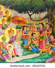 KRATIE, CAMBODIA - FEB 10, 2015 - Birth of the Buddha from the life of the Buddha series of paintings,  Langka Pagoda  temple,  Sambuk Mountain Monastery, Kratie,  Cambodia